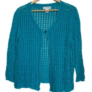 Blue net cardigan by Sag Harbor EUC L